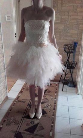 eb8adfb85b Sukienka pudrowa tiulowa z koralikami wiązana wesele ślub 36 38 pióra  Białystok - image 1