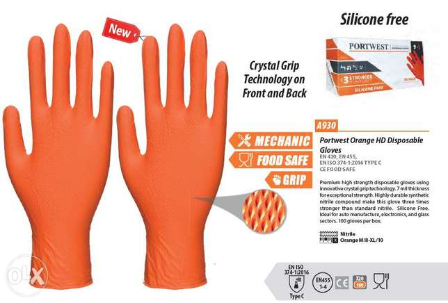 Portwest Orange HD Disposable Gloves