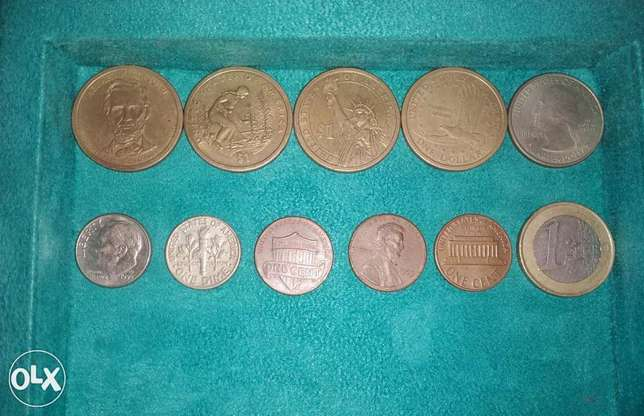 Set of American Dollar coins
