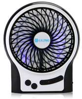 Portable Cooling Fan Powered by Lithium Rechargeable Battery & USB
