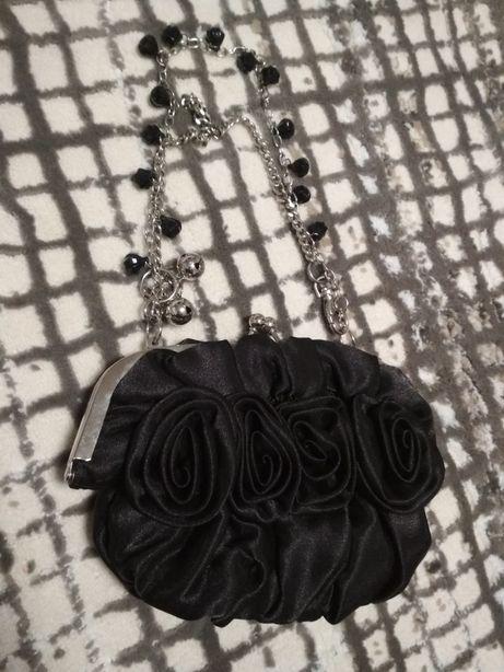 bd918230b730 Клатч черный шелковый атласный на серебрянной цепочке с камнями сумка  Запорожье - изображение 1