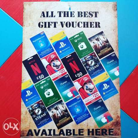 All kind of gift card available each 5bd 10bd 20bd 25bd 15bd