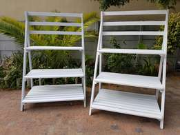 Tall wooden ladder display shelf. Very big and beautiful.