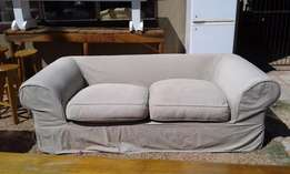 Beige Fully Upholstered 2-Seater Couch