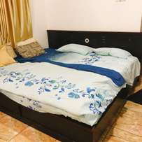 king size bed (6 *7) frame and vita foam mattress with dressing mirror