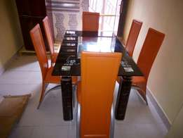 Dining Table With Orange Chairs