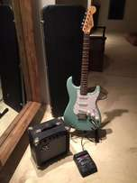 Squire fender bullet Strat guitar, Gator case, SX amp and digitech