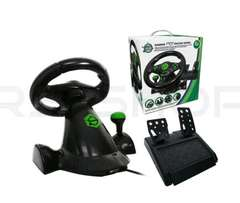 Gaming Vibration Racing Steering Wheel (23cm) and Pedals for XBOX 360