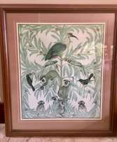 Framed Painting / Picture - attractive animal theme in pale greens