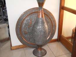 antique persian copper vase and tray