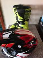 motorcross helmet and boots for sale