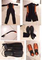 AQUALUNG SAFAGA Wetsuit Pack:Male/XL/Combi/Shorty/2 Fins/Boot/Snorkel