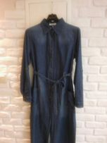 2cdbd91b16 Sukienka długa jeansowa wiązana kołnierzyk