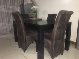 Mahogany Dining Table with Four Leather seats