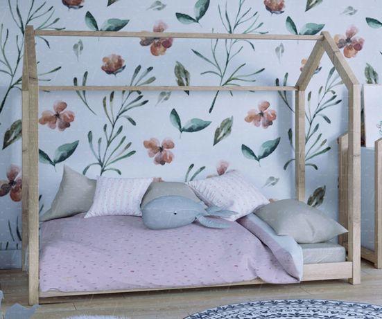 łóżko łóżeczko Domek Naturalne Drewno Sosnowe Dla Dzieci
