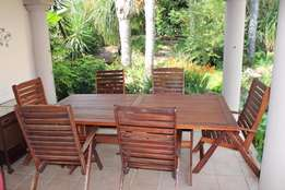 Wooden patio set 6 highback chairs and table 2.2 x 1.1m R5500 neg