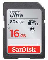 SanDisk Memory SD Card 16GB Class 10 SDHC UHS-I Ultra-fast 80MB/s