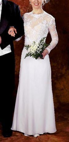 Suknia ślubna Prosta Z Długim Rękawem Koronkowa Z Muślinem Litera A