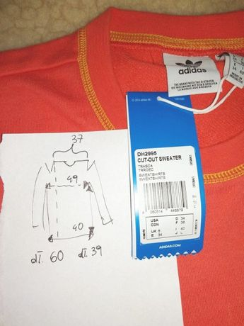 Adidas bluza z wycięciami odkrytymi ramionami 34