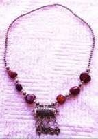 Moroccan style Cylinder Red stone Necklace - 27 cm