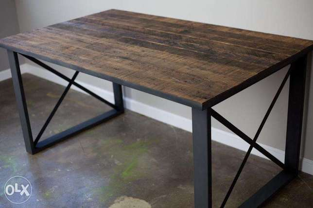 [ Contemporary industrial steel - Dining Table Desk ]