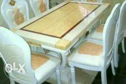 Superb six seaters marble dining table set