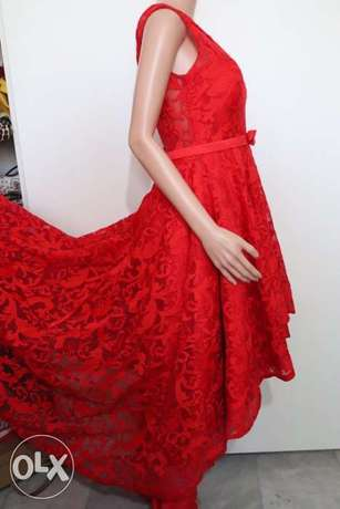 evening dress red short and tall