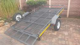 Break neck flatbed trailer for golf car/3 bikes
