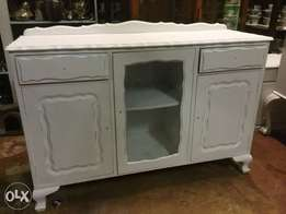 Vintage painted dresser with middle glass door