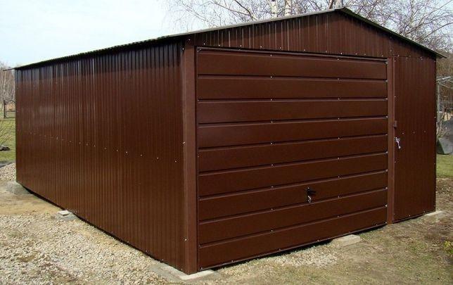 Cudowna Garaże blaszane Brąz 4x6 Poziomy Panel Bramy Garaż Blaszak ZM59