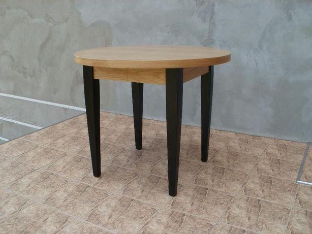 Chwalebne Dębowy okrągły stół rozkładany 100x150cm. nogi czarne, białe UP51
