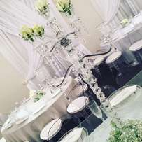 Centrepieces, function hire, stage, draping, tables and chairs