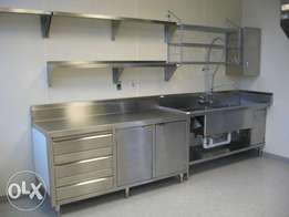 Stainless Steel Worktops With Storage Cabinets