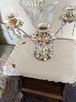 Metallic Candle stand with flower vase and surrounded cristal