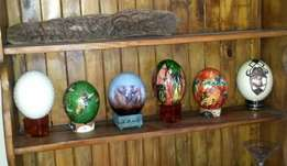 Very beautiful hand painted ostrich eggs on stands