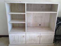 Wooden white-washed TV cabinet and/or mirror