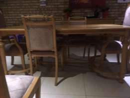Back Six seater dining room table, chairs and sideboard -