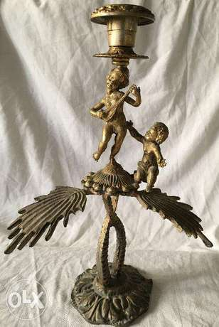 Two boys on wings Candle holder playing music from bronze – Antique