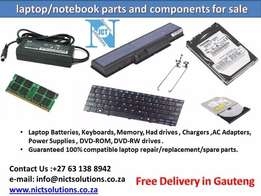 Laptop Battery, Laptop ram, Laptop Keyboard, Laptop Adapters.