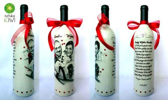 Masywnie Butelka wino z karykaturą, prezent dla Pary Młodej, Ślub, Rocznica PM57