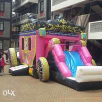 Bouncing castles waterslides and pools, trampolines for hire.