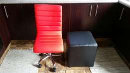 Red pu office chair & black square ottoman