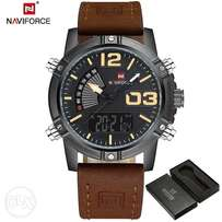 Brown Leather Naviforce Chronograph Watch