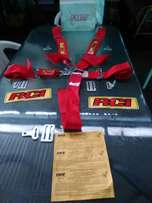 Red racing safety belts