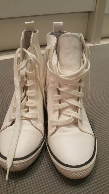 Białe Trampki Sneakersy Buty Damskie Koturny Vices Shoes 39