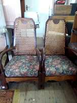 antique 2 high back chairs