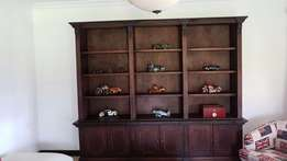 Sutherlands Large 2 Piece Walnut Library Wall Unit