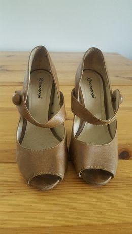 df773db383053 buty na grubym dobcasie czółenka bez palców brązowe ATMOSPHERE Warszawa -  image 1