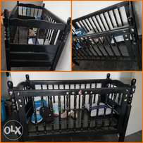 Wooden Dark Brown Cot.