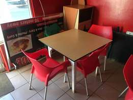 restaurant tables and chairs gas griller and cold dispaly fridge